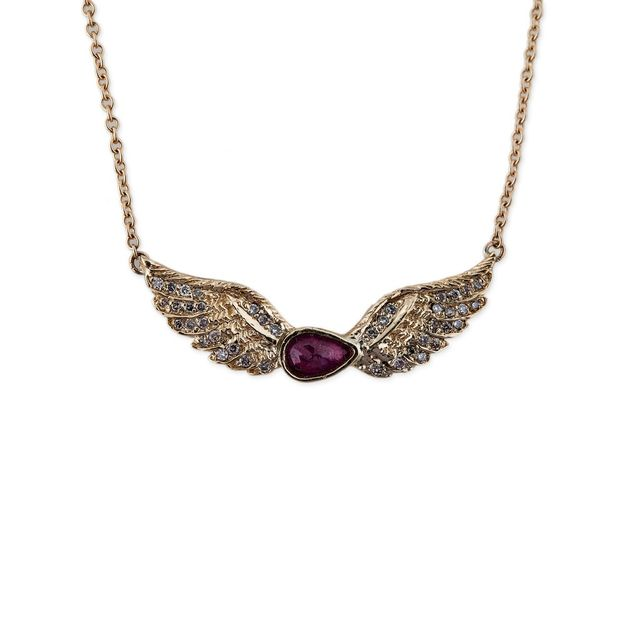 Jacquie Aiche Ruby Teardrop Wing Necklace