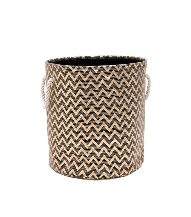 Zara Home Golden Zig Zag Basket With Handles