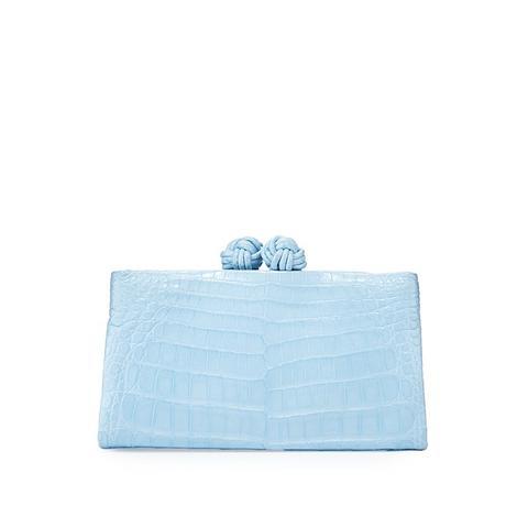 Crocodile Knot-Top Clutch Bag