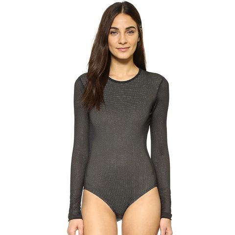 Black Athletic Mesh Swimsuit