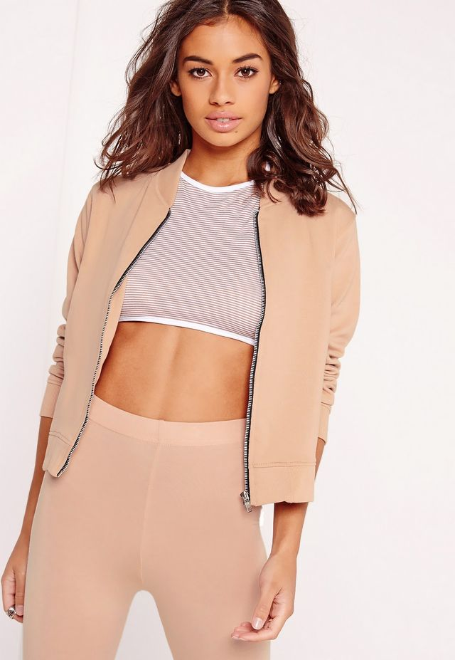 Misguided Petite Exclusive Jersey Bomber Jacket Camel