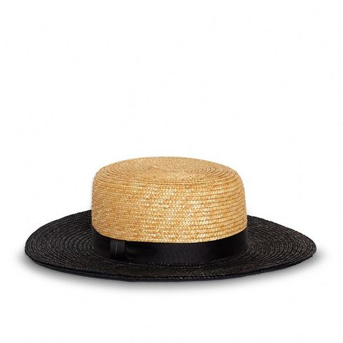 Straw Boater Hat Natural With Black