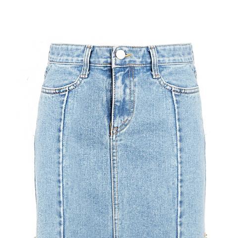 Denim Frayed Mini Skirt