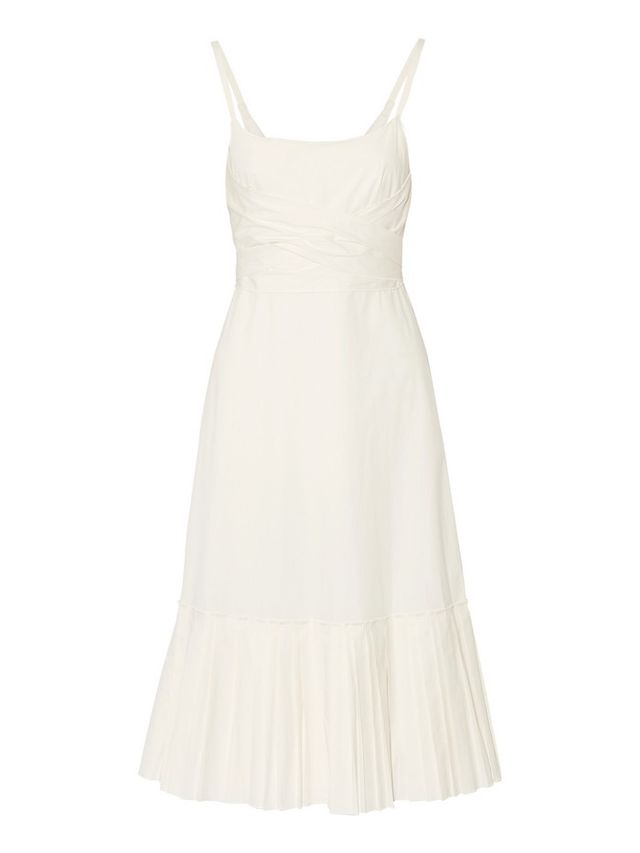 Theory Minikar Pleated Stretch-Cotton Poplin Dress