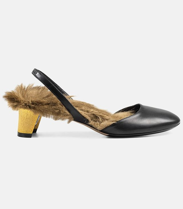 Gucci Leather Fur-Lined Slingback Pumps