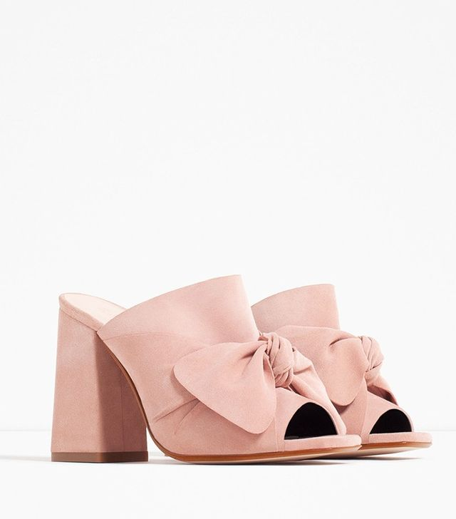 Zara Leather High Heel Slides With Bow