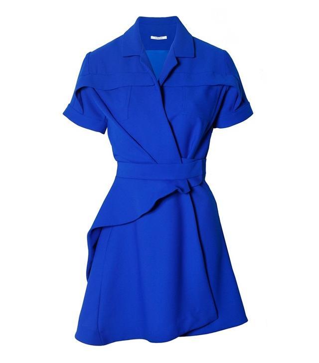 Carven Crepe Shirt Dress in Royal Blue