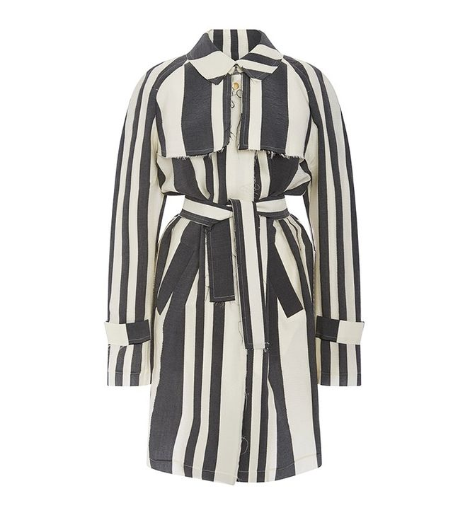 Etitenne Deroeux Martine Silk and Wool Trench Coat
