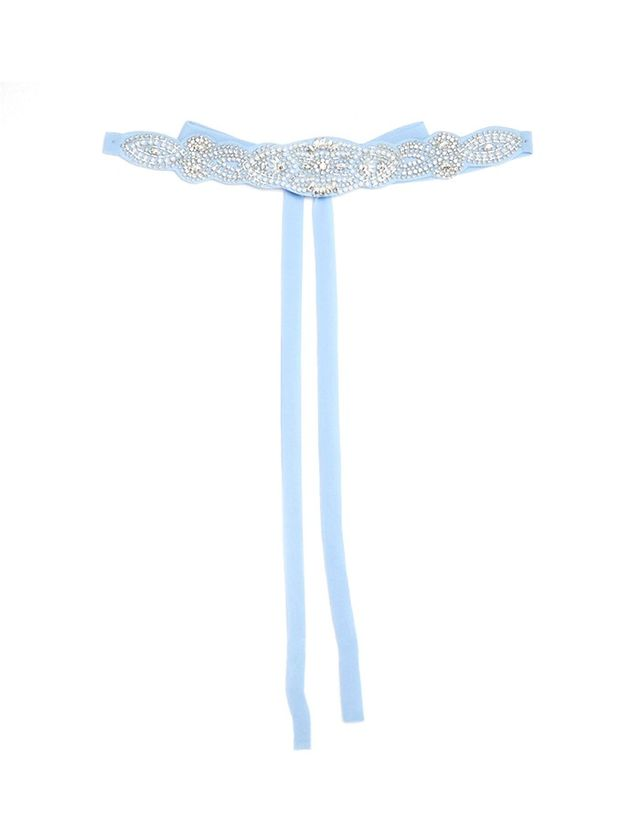TFNC Wedding Crystal Beaded Embellished Tie Belt