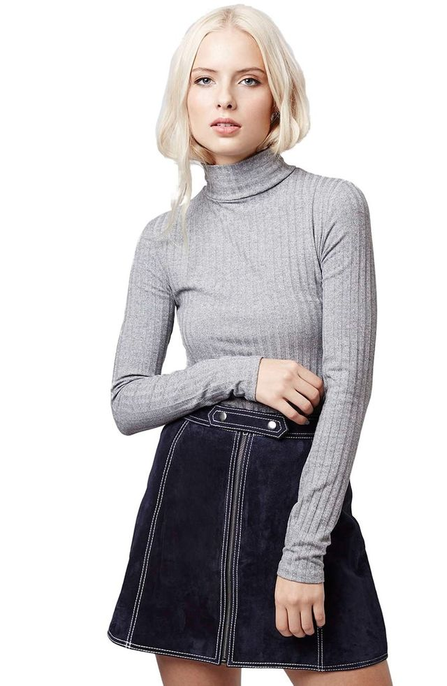 Topshop Ribbed Long Sleeve Top