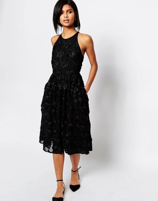 Whistles Applique Textured Midi Dress