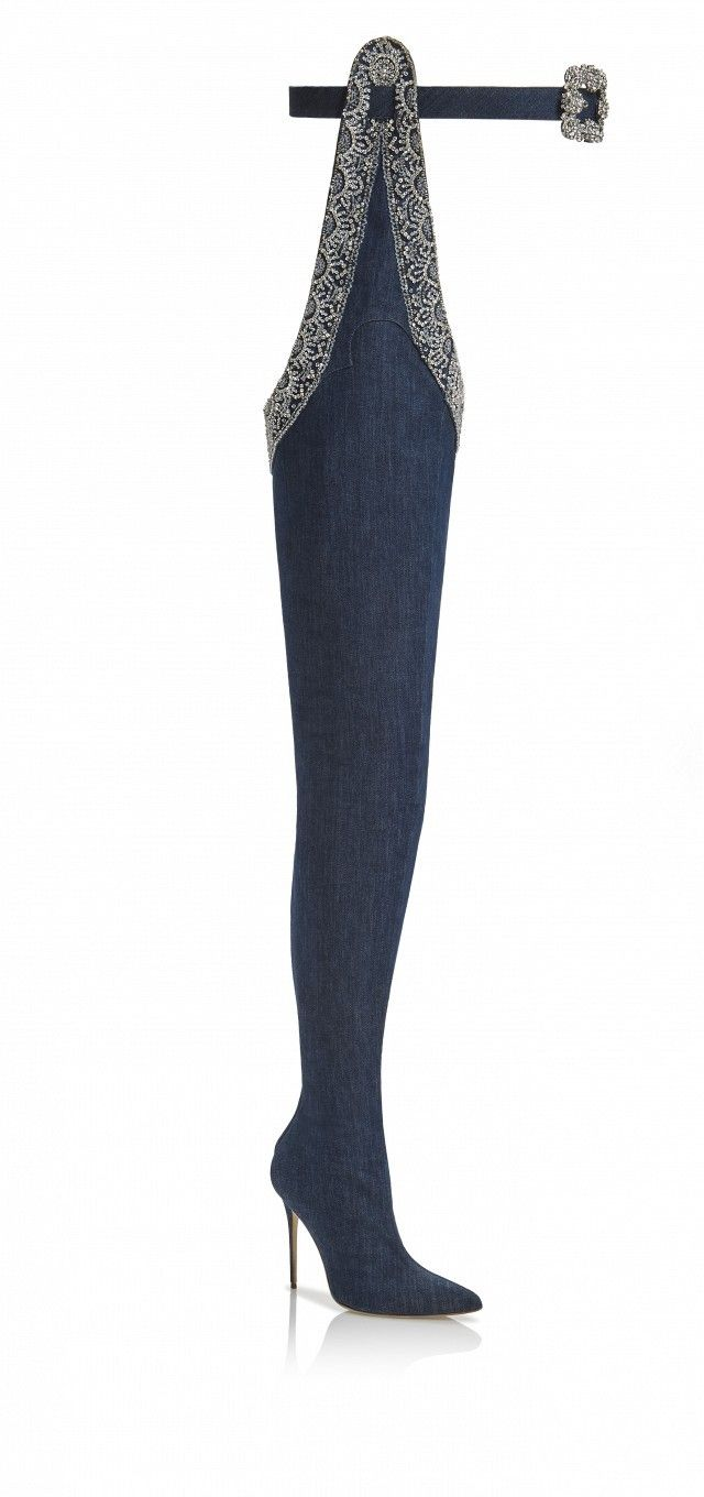 Rihanna x Manolo 9 to 5 Denim Thigh-High Belted Boots