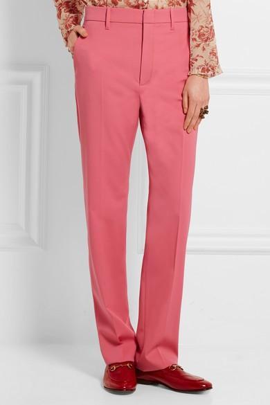 Gucci Stretch Wool and Silk-Blend Straight-Leg Pants