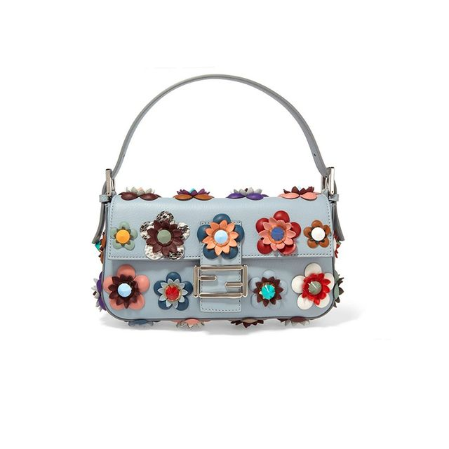 Baguette Floral-Appliquéd Leather Shoulder Bag