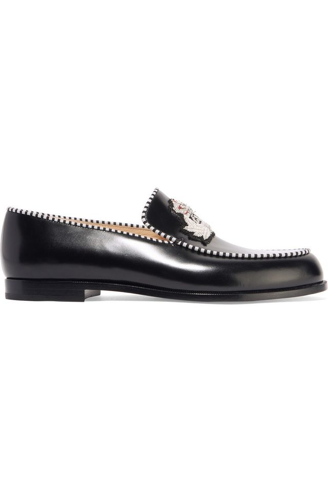 Christian Louboutin Laperouza Embroidered Leather Loafers
