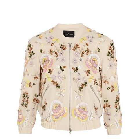 Embellished Georgette Bomber Jacket