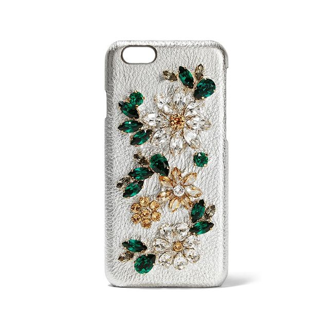 Dolce & Gabbana Crystal-Embellished Metallic Textured-Leather iPhone 6 Case
