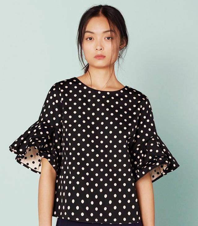 Finery Medland Polka Dot Sculptured Sleeve Top
