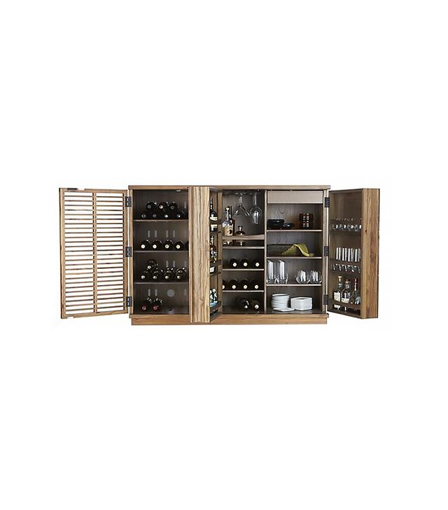 Crate and Barrel Marin Natural Large Bar Media Cabinet