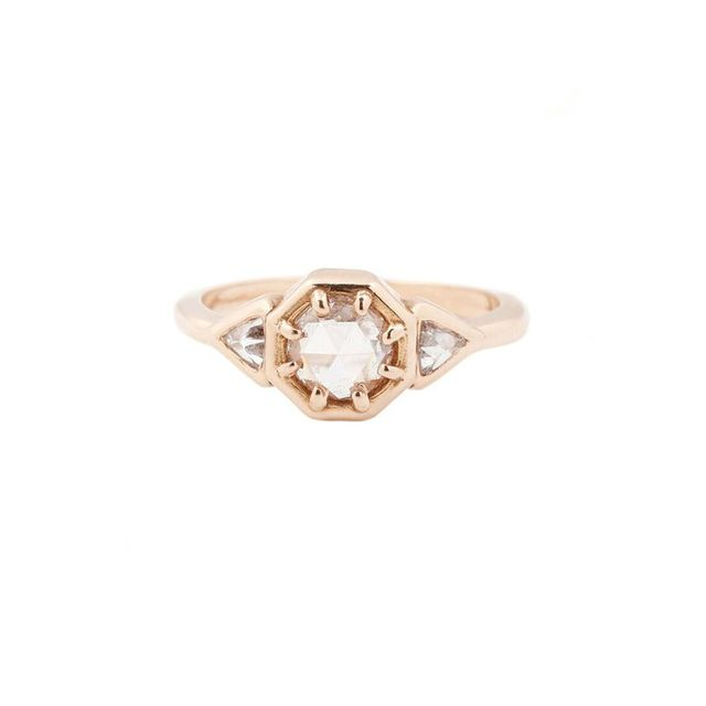 Lauren Wolf Rose Gold Three Diamond Ring