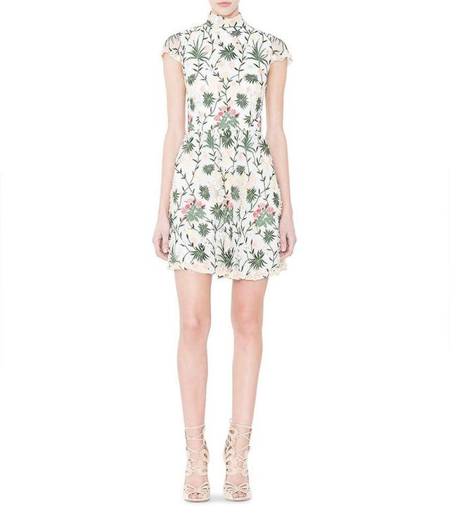 Alice + Olivia Tari Floral Embroidered Open-Back Dress
