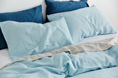 IN BED 100% Linen Duvet Cover in Light Blue