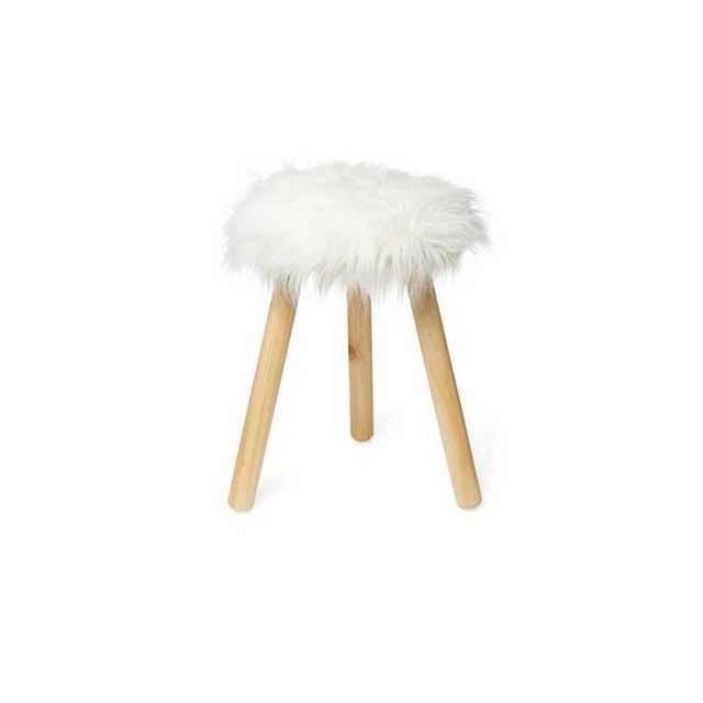 Design House Winter Luxe Faux Lamb Fur Stool