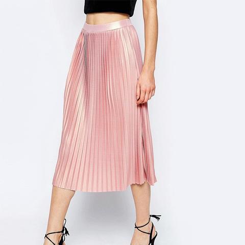 Pleated Midi Skirt With Metallic Foil