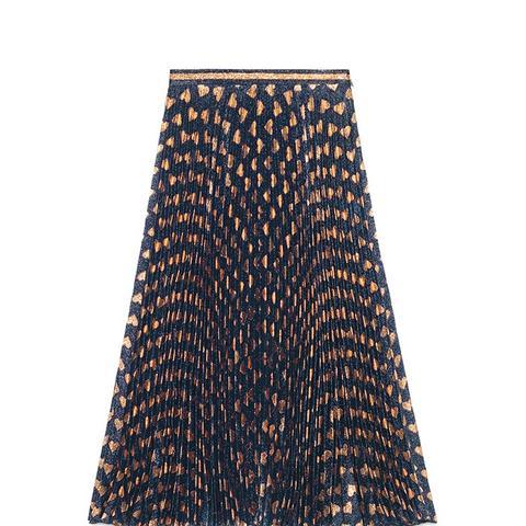 Heart Lurex Plissé Skirt