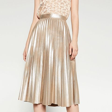 Finely Pleated Metallic Midi Skirt