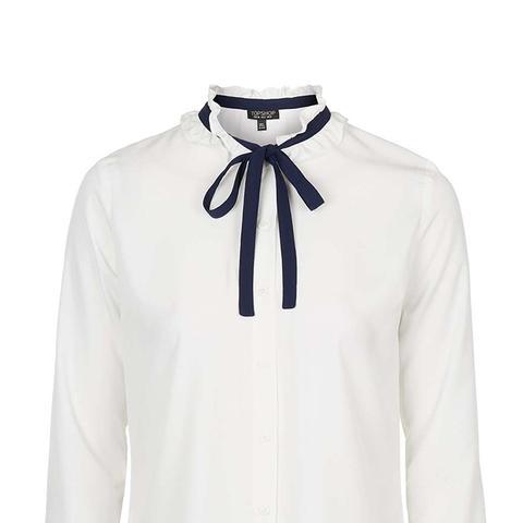 Ruffle Tie-Neck Shirt