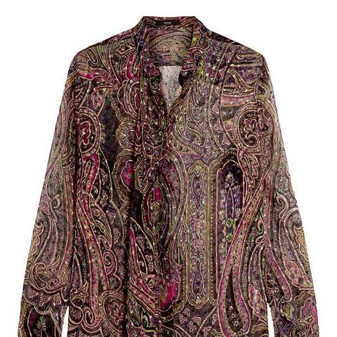 Draped Paisley-Print Devoré Silk-Blend Blouse