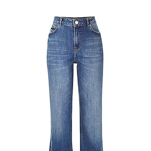 Mid Wash Wide Leg Flare Jeans