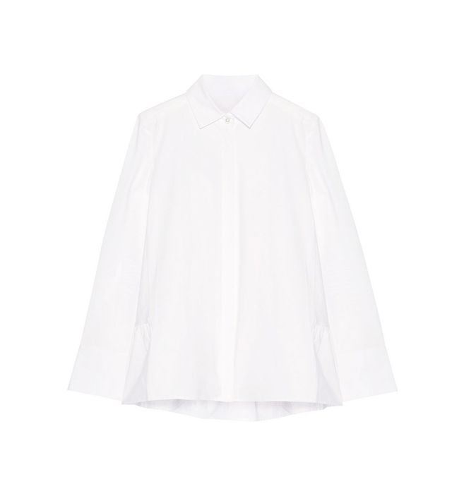 CO Ruffled Cotton-Poplin Shirt