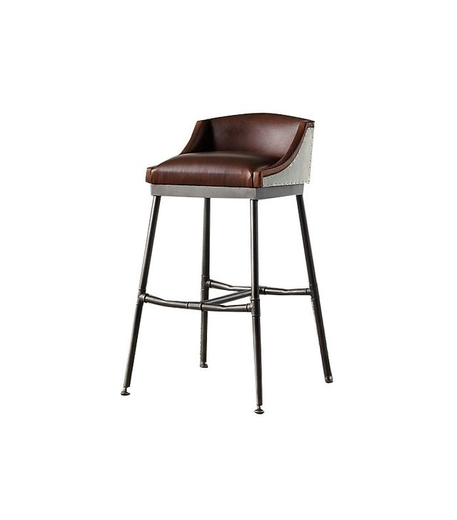 Restoration Hardware Iron Scaffold Leather Stool