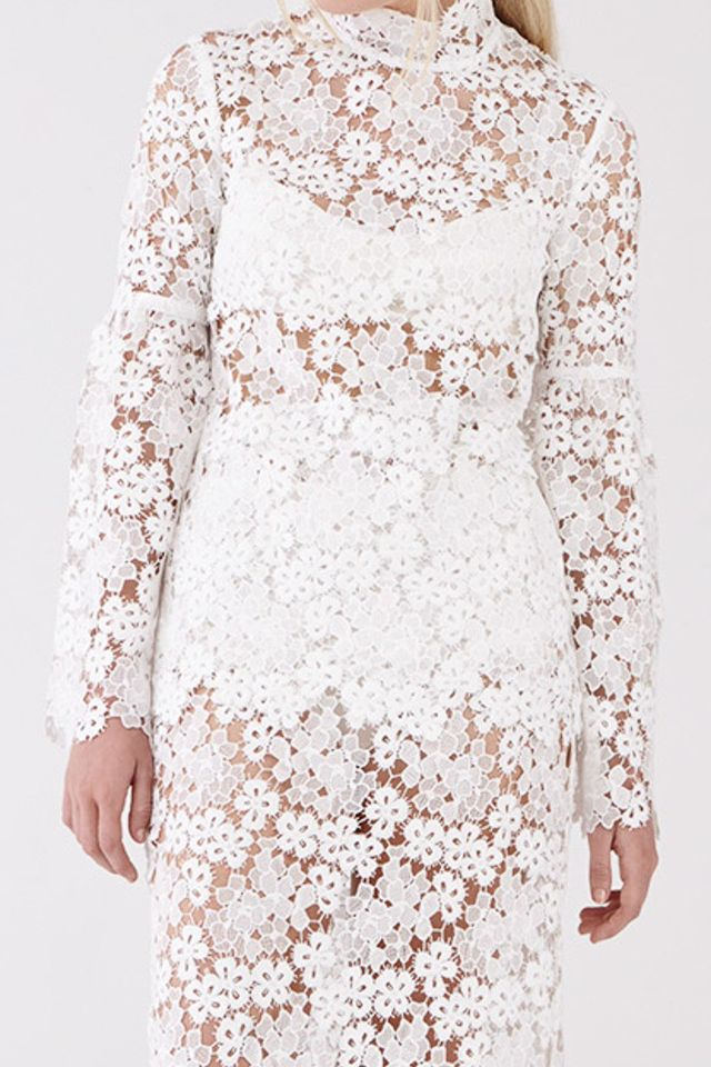 Macgraw Bell Top In White Lace