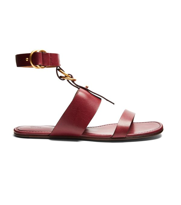 Hermes Oran Sandals: Chloe Kingsley Leather Flat Sandals