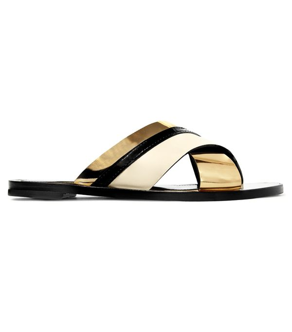 Hermes Oran Sandals: Lanvin Matte And Patent-Leather Slides