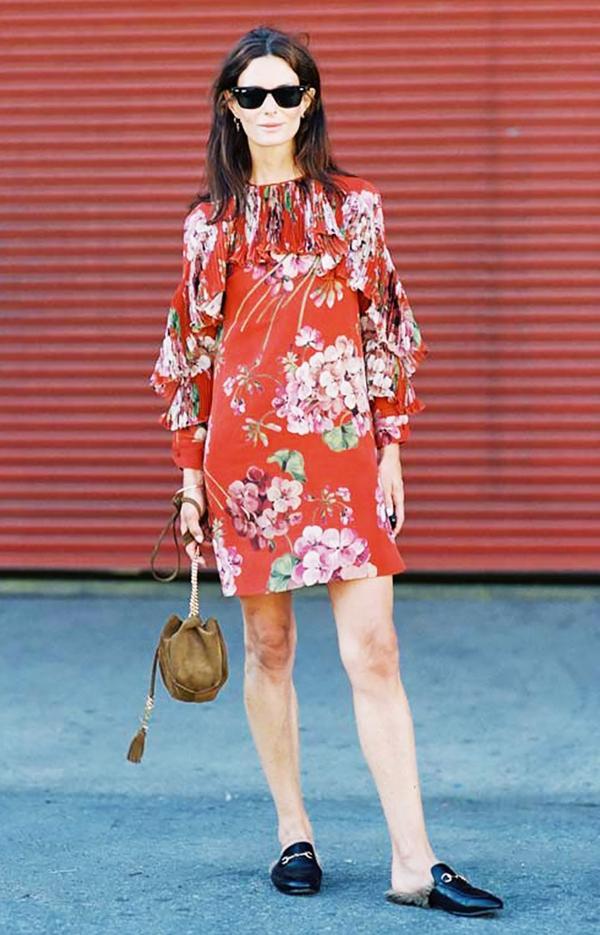 On Hedvig Sagfjord Opshaug:Gucci Floral-Print Silk-Georgette Mini Dress(£1640) andPrincetown Fur-Lined Mules(£650).