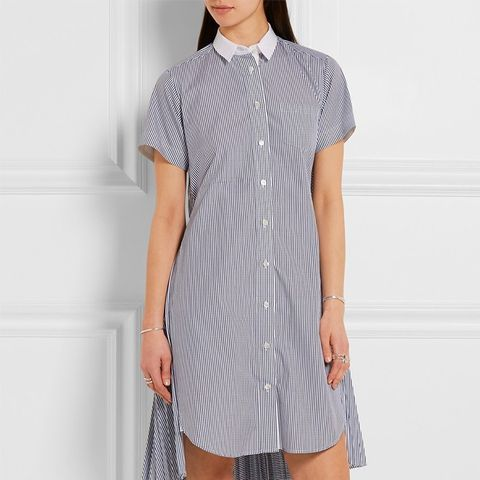 Cutout Striped Cotton-Poplin Dress