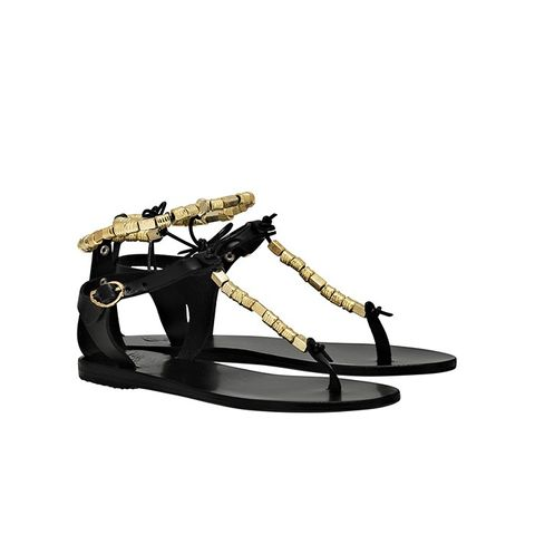 Chrysso Black Leather and Gold Bead Flat Sandals
