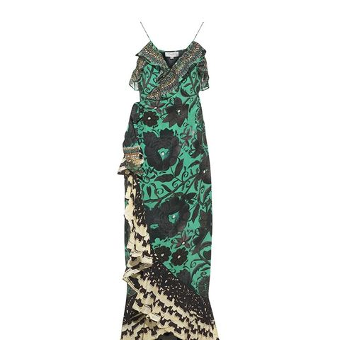 Green Silk Sacromonte Ruffle Dress