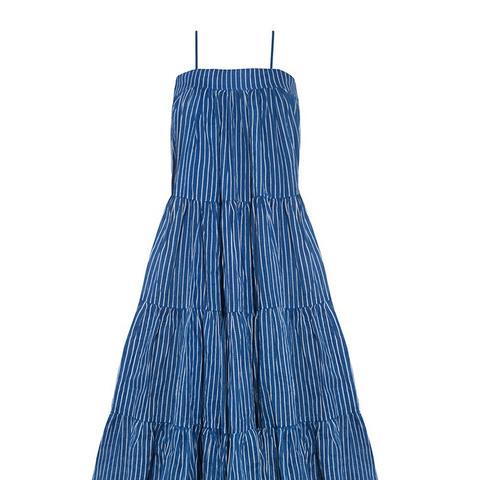 Blue Striped Cotton Eva Dress