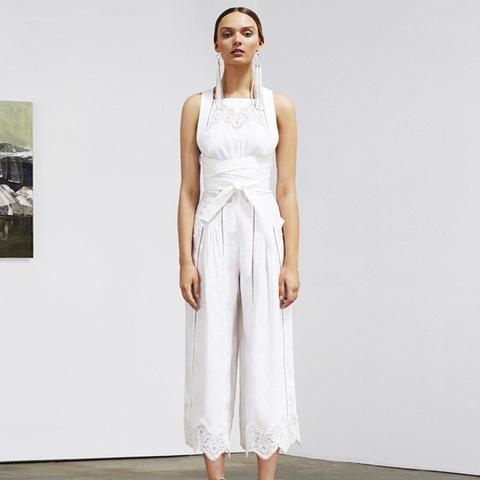 Empire Virtue Guipure Lace-Paneled Linen Jumpsuit