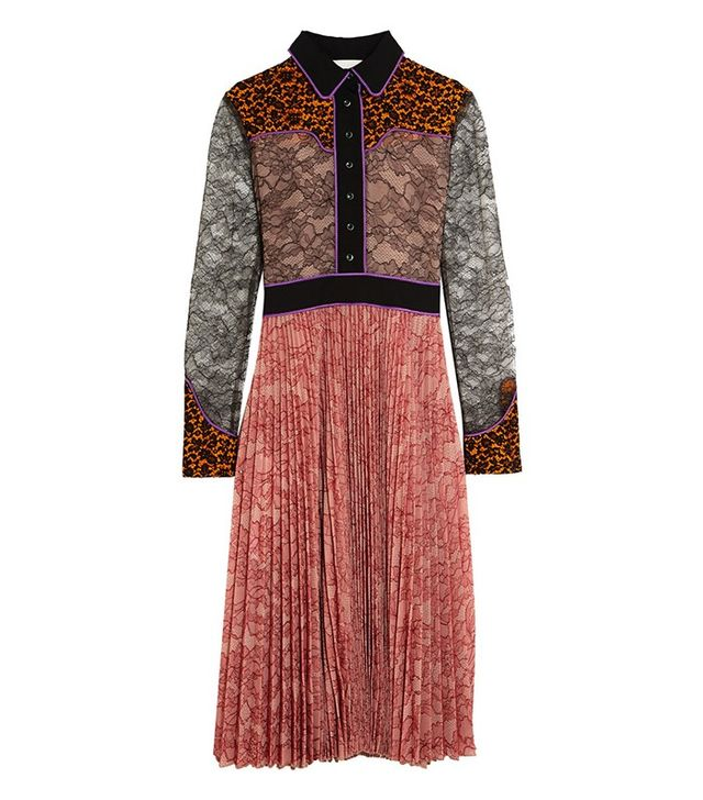 Gucci Lace and Plisse-Georgette Dress