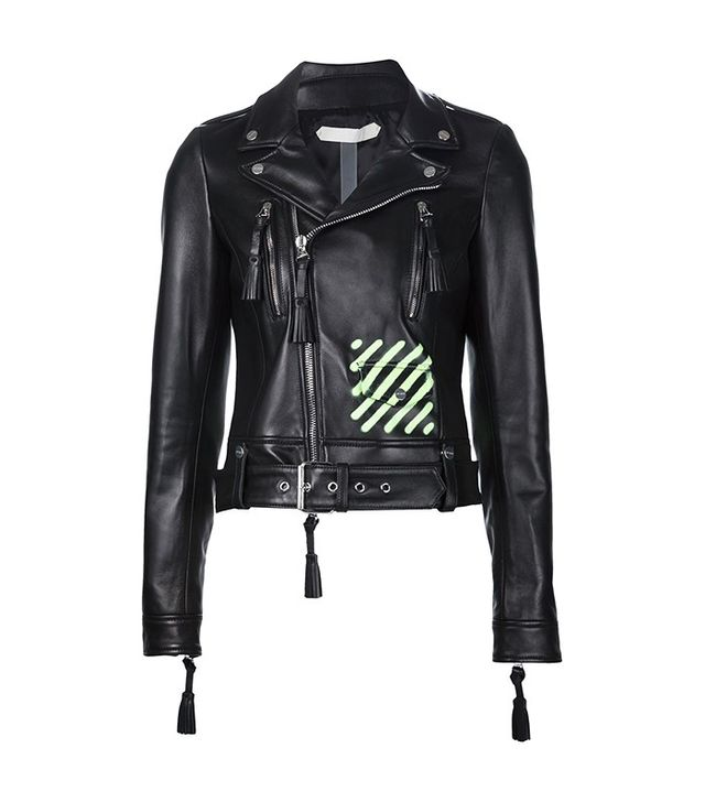 Off-White Neon Print Biker Jacket