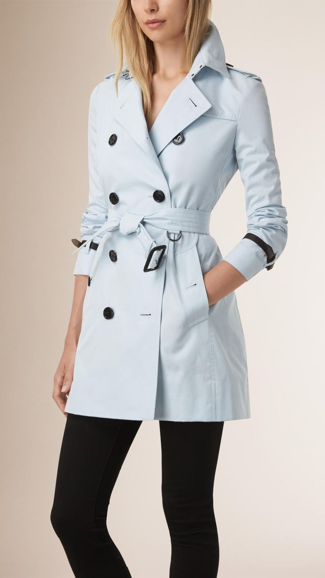 Burberry Leather Trim Trench Coat