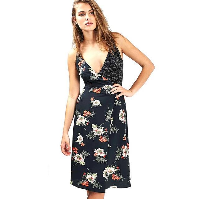 Topshop Floral Wrap Silk Dress