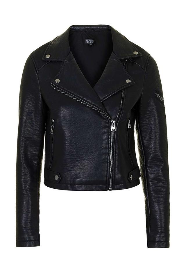 Topshop Faux-Leather Biker Jacket