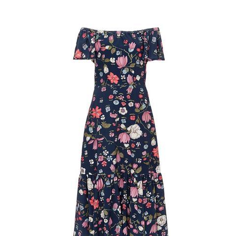 Off the Shoulder Floral Print Dress